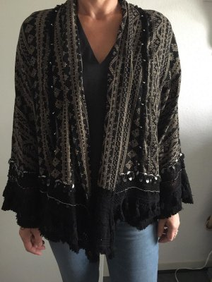 Zara Woman Kimono negro-color bronce