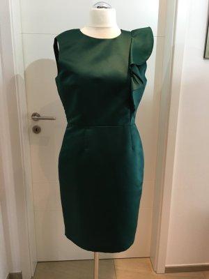 Zara Sukienka etui petrol Tkanina z mieszanych włókien
