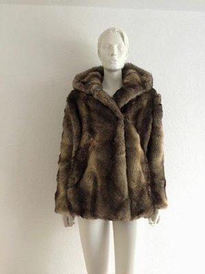 ZARA Fake Fur Jacke Kapuze XS New