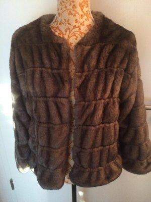 ZARA Fake-Fur  Jacke grau braun Gr M Wie neu