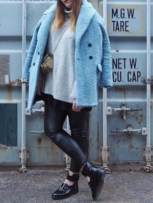 Zara Fake Fur Shearling Wolle Jacke L 40 42 Blau Blogger Mantel Kuschelig Winterjacke Kunstfell