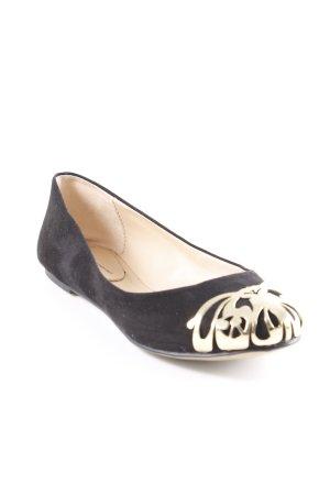 Zara faltbare Ballerinas schwarz-goldfarben Elegant