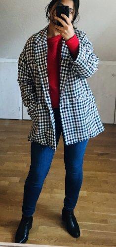 Zara Krótki płaszcz Wielokolorowy Tkanina z mieszanych włókien