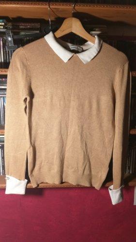 Zara Feinstrick Pullover mit Hemdkragen S