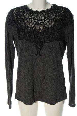 Zara Feinstrickpullover hellgrau-schwarz meliert Elegant