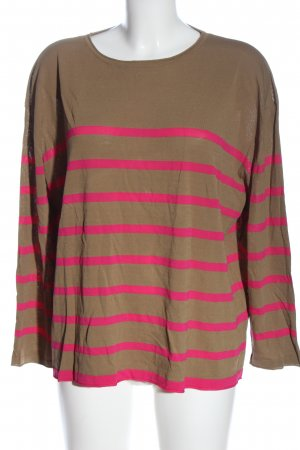 Zara Feinstrickpullover braun-pink Streifenmuster Casual-Look