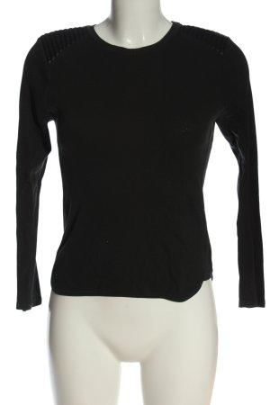 Zara Feinstrickpullover schwarz Zopfmuster Casual-Look