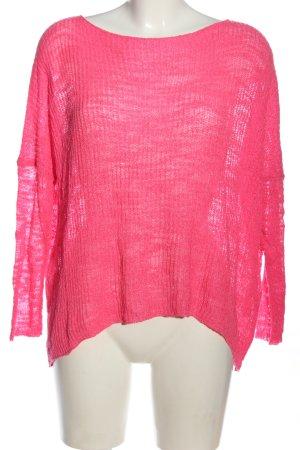 Zara Feinstrickpullover pink Zopfmuster Casual-Look