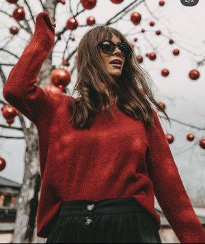 Zara Feinstrickpullover rot Casual-Look