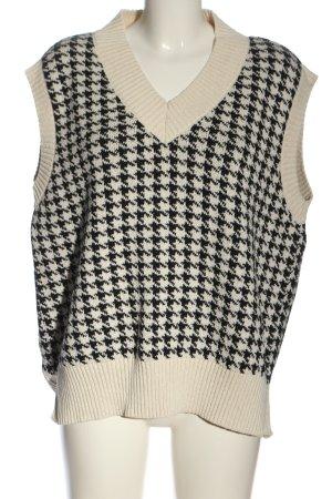 Zara Fijn gebreide cardigan wolwit-zwart grafisch patroon zakelijke stijl