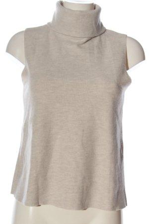 Zara Sweter bez rękawów z cienkiej dzianiny w kolorze białej wełny