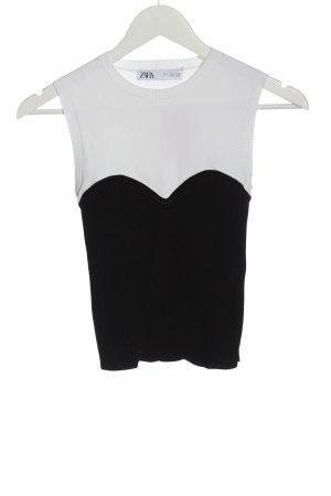 Zara Sweter bez rękawów z cienkiej dzianiny czarny-biały W stylu casual
