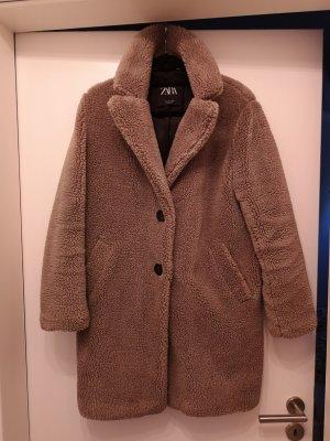 Zara Manteau de fourrure gris brun