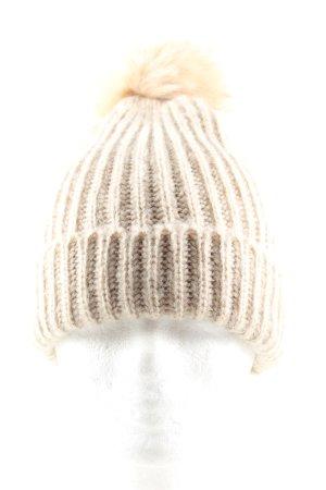 Zara Cappello in pelliccia bianco sporco punto treccia stile casual