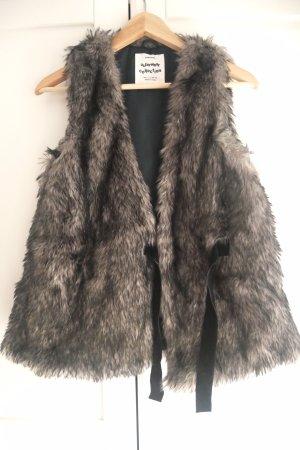Zara Kids Gilet en fourrure gris brun-noir