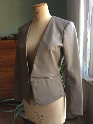 Zara Basic Blazer en cuir gris brun-taupe