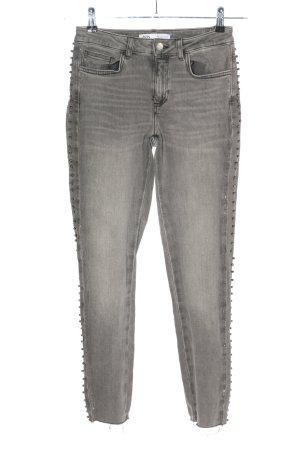 Zara Five-Pocket-Hose hellgrau Streifenmuster Casual-Look