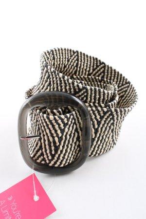 Zara Cinturón trenzado negro-crema estampado repetido sobre toda la superficie