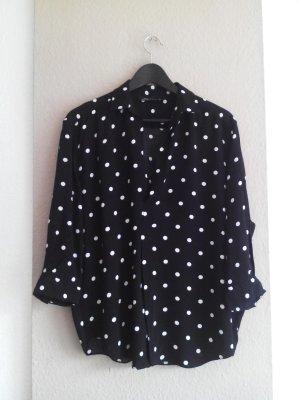 Zara fließende Hemdbluse in schwarz mit Polka-dots aus 100% Viskose, Größe S