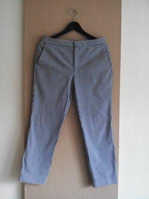Zara fließende Hose in marineblau-weiß, Vichy Karo Muster aus Baumwolle, Größe 36
