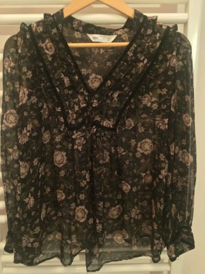 Zara Floral sheer vneck Tunic Velvet Trim Top