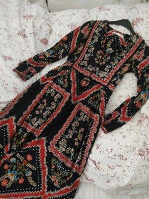 Zara Folklore Kleid Blumen Print Ethno Hippie Viskose Zipfelkleid