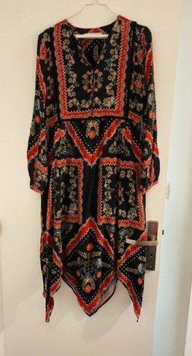 Zara Folklore Kleid Blumen Print Ethno Hippie Zipfelkleid