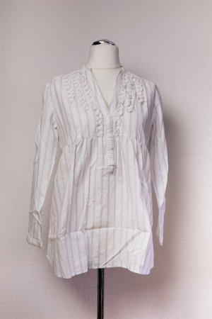 Zara for Mum Langarm Bluse weiß schwarz Nadelstreifen Gr. L 40