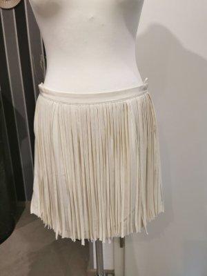 Zara Basic Spódnica z frędzlami w kolorze białej wełny