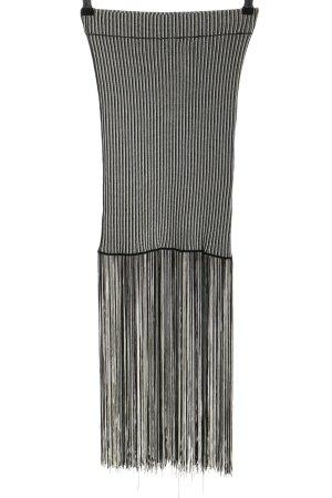 Zara Fransenrock weiß-schwarz Streifenmuster Casual-Look