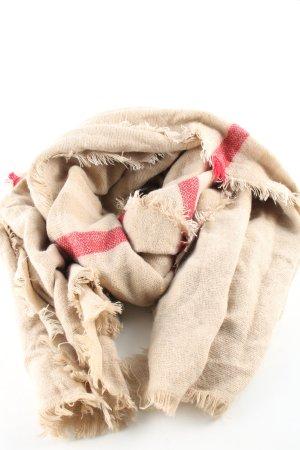 Zara Sciarpa con frange bianco sporco-rosso motivo a righe stile casual
