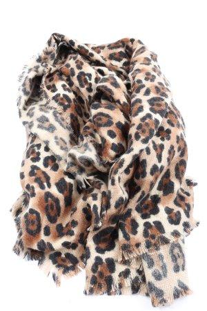 Zara Fringed Scarf leopard pattern casual look