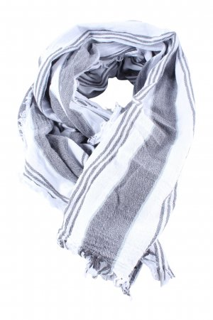Zara Fransenschal hellgrau-weiß Streifenmuster Casual-Look