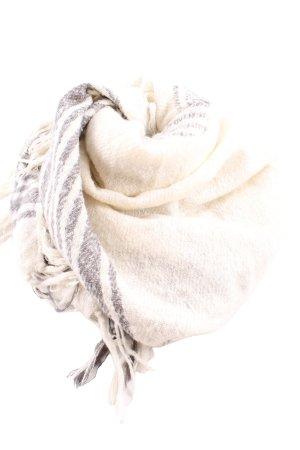 Zara Bufanda de flecos crema-gris claro estampado a cuadros look casual