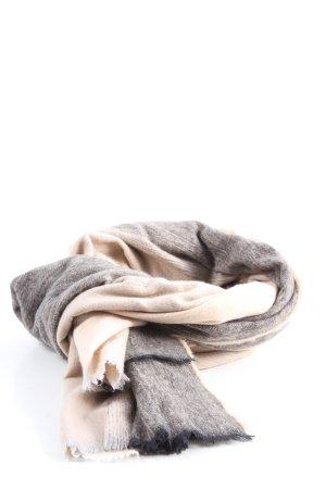Zara Bufanda de flecos gris claro-crema look casual