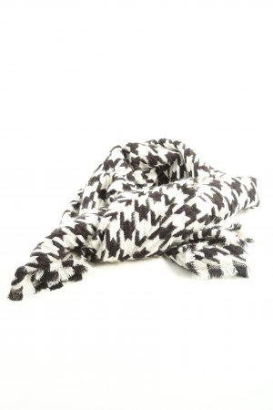 Zara Bufanda de flecos negro-blanco estampado repetido sobre toda la superficie