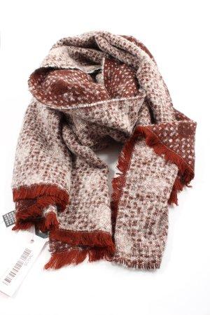 Zara Bufanda de flecos marrón-blanco look casual