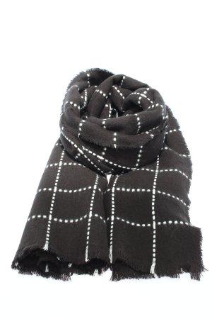 Zara Fransenschal schwarz-weiß Karomuster Casual-Look