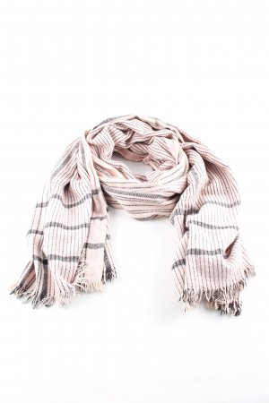 Zara Fringed Scarf nude-black striped pattern casual look