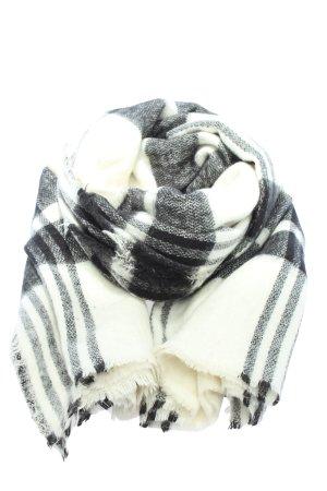 Zara Fransenschal weiß-schwarz Karomuster Casual-Look