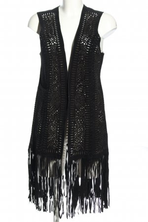 Zara Kamizelka z frędzlami czarny W stylu casual