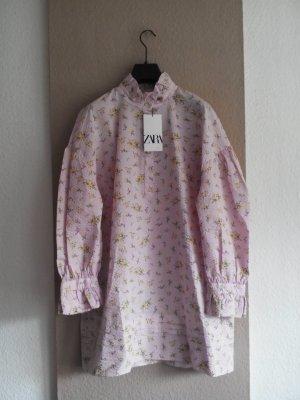 Zara geblumtes Minikleid in rosa-gelb, Grösse L, neu