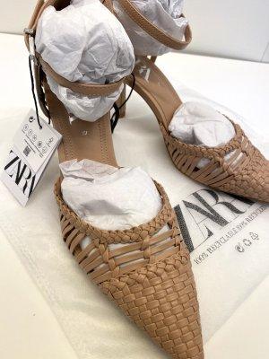 Zara geflochtener Slingback Riemen Sandalen mit Absatz