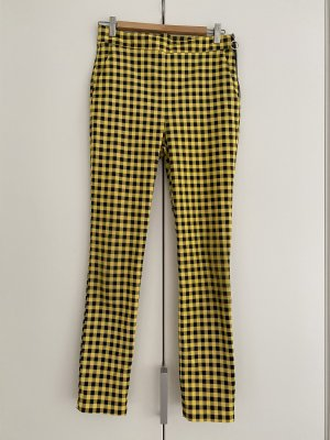 ZARA gelb/schwarz karierte Skinny Hose