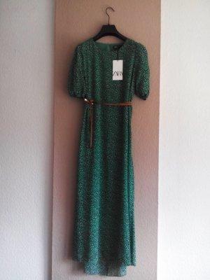 Zara gemustertes Midikleid in grün-marineblau mit Gürtel, Grösse M, neu