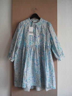 Zara gemustertes weites Minikleid mit Ballonärmeln, Blumendruck, Größe L, neu