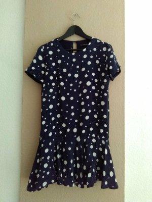 Zara gepunktetes Minikleid in marineblau-weiss, Größe S