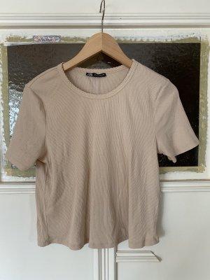 Zara geripptes Basic T-Shirt