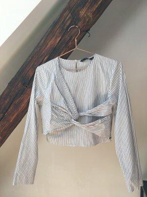 Zara gestreifte Bluse mit Knoten-Detail