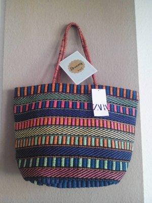 Zara gestreifte Shopper Tasche aus Stroh, neu